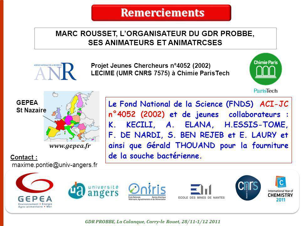 22 Projet Jeunes Chercheurs n°4052 (2002) LECIME (UMR CNRS 7575) à Chimie ParisTech Le Fond National de la Science (FNDS) ACI-JC n°4052 (2002) et de j