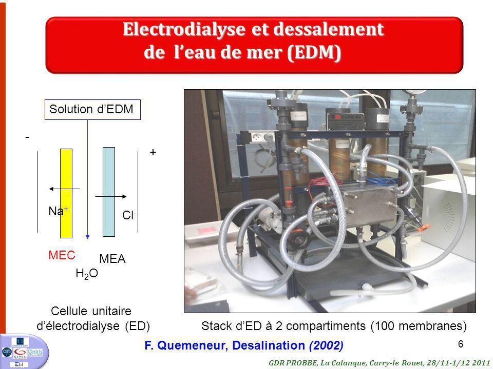 6 Stack dED à 2 compartiments (100 membranes) GDR PROBBE, La Calanque, Carry-le Rouet, 28/11-1/12 2011 Electrodialyse et dessalement Electrodialyse et dessalement de leau de mer (EDM) de leau de mer (EDM) Cellule unitaire délectrodialyse (ED) MEC MEA + - Solution dEDM Na + Cl - H2OH2O F.