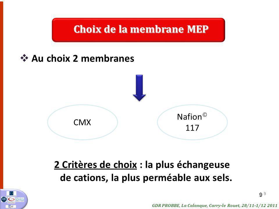 9 9 Au choix 2 membranes CMX Nafion © 117 2 Critères de choix : la plus échangeuse de cations, la plus perméable aux sels. GDR PROBBE, La Calanque, Ca