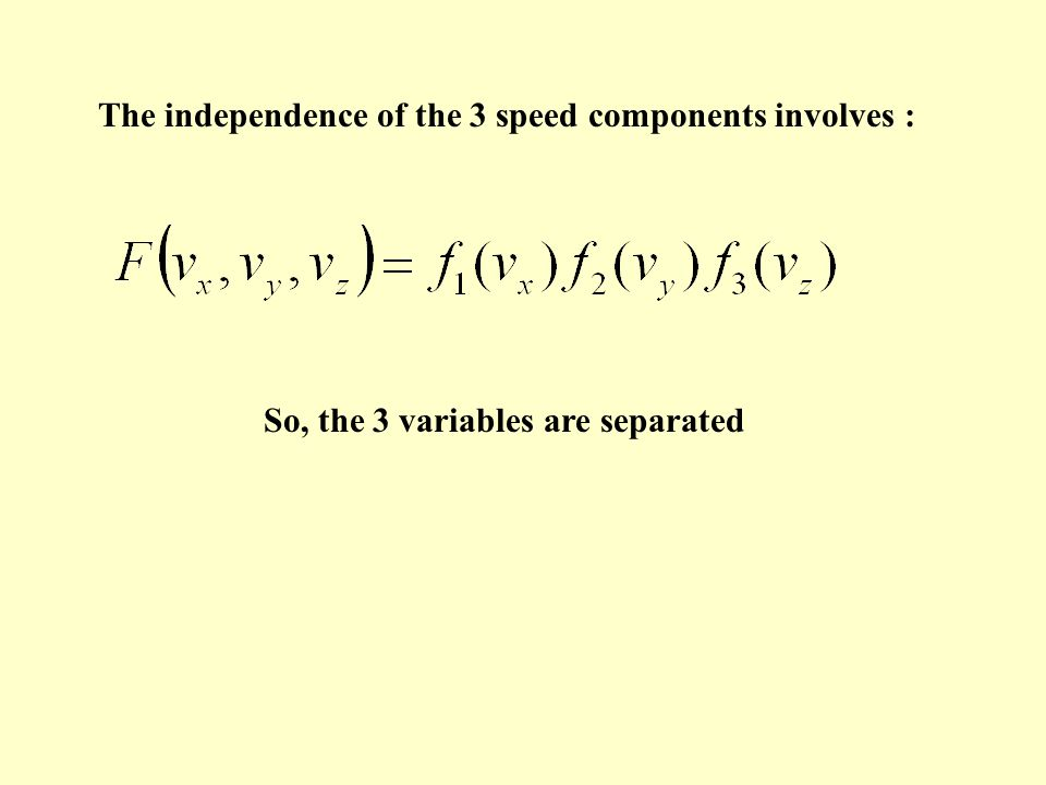 The two hypotheses of Maxwell the independence of the 3 speed components ; the isotropy of the speed directions
