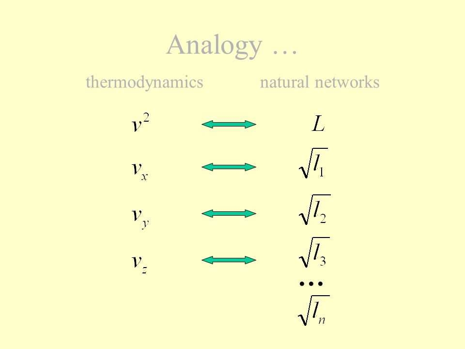 Analogy … thermodynamics natural networks In thermodynamicsIn natural networks first difference : there are 3 componentsthere are n components
