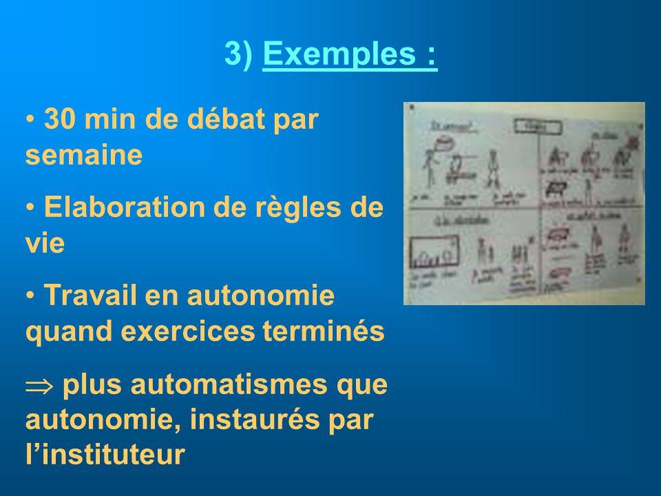 3) Exemples : 30 min de débat par semaine Elaboration de règles de vie Travail en autonomie quand exercices terminés plus automatismes que autonomie,