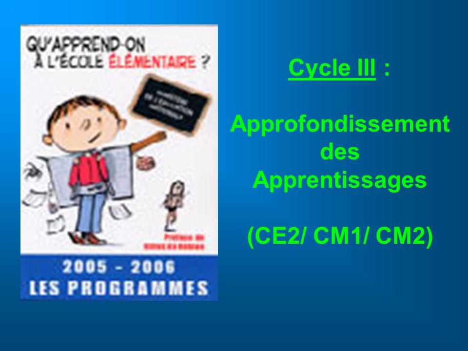 Cycle III : Approfondissement des Apprentissages (CE2/ CM1/ CM2)