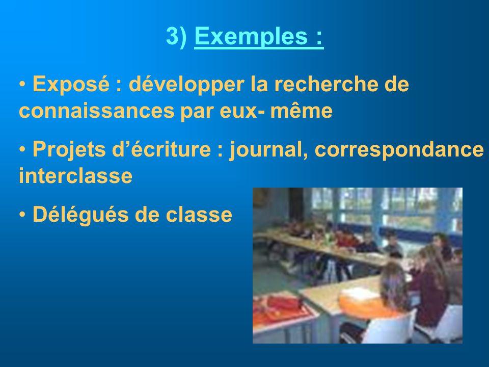 3) Exemples : Exposé : développer la recherche de connaissances par eux- même Projets décriture : journal, correspondance interclasse Délégués de clas