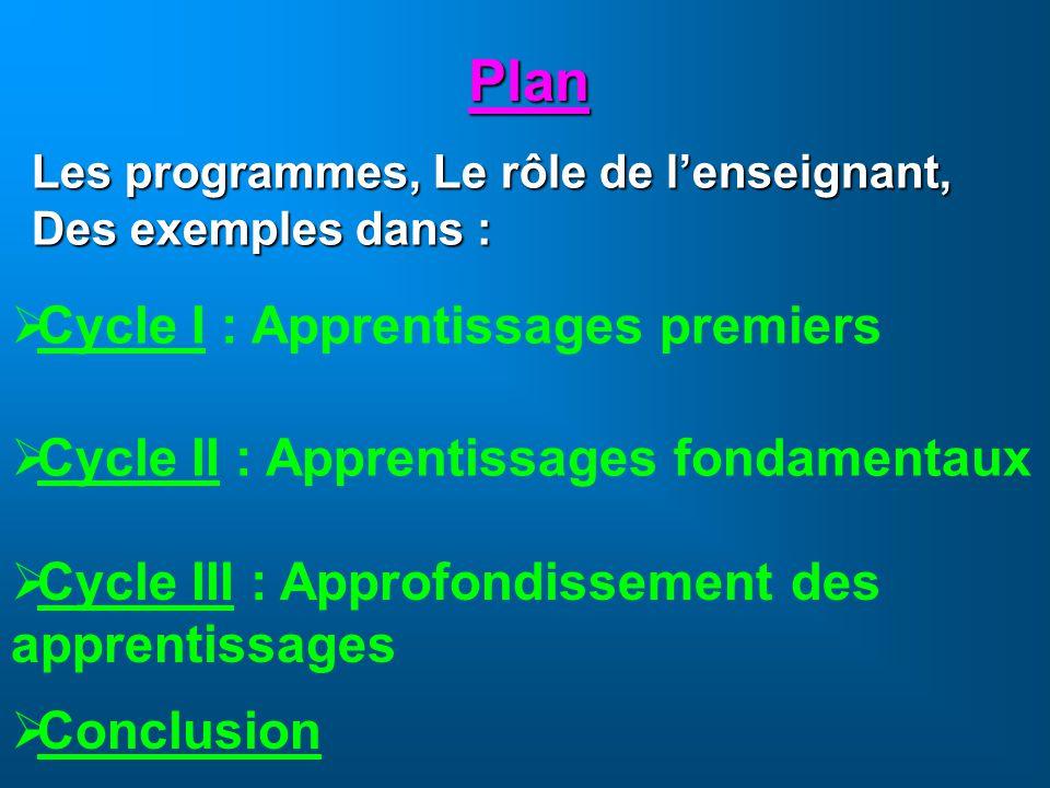 Plan Cycle I : Apprentissages premiers Cycle II : Apprentissages fondamentaux Cycle III : Approfondissement des apprentissages Les programmes, Le rôle