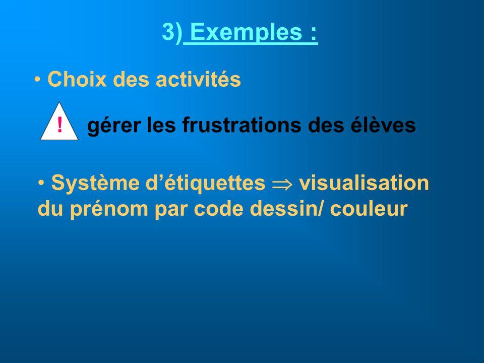 3) Exemples : Choix des activités !gérer les frustrations des élèves Système détiquettes visualisation du prénom par code dessin/ couleur