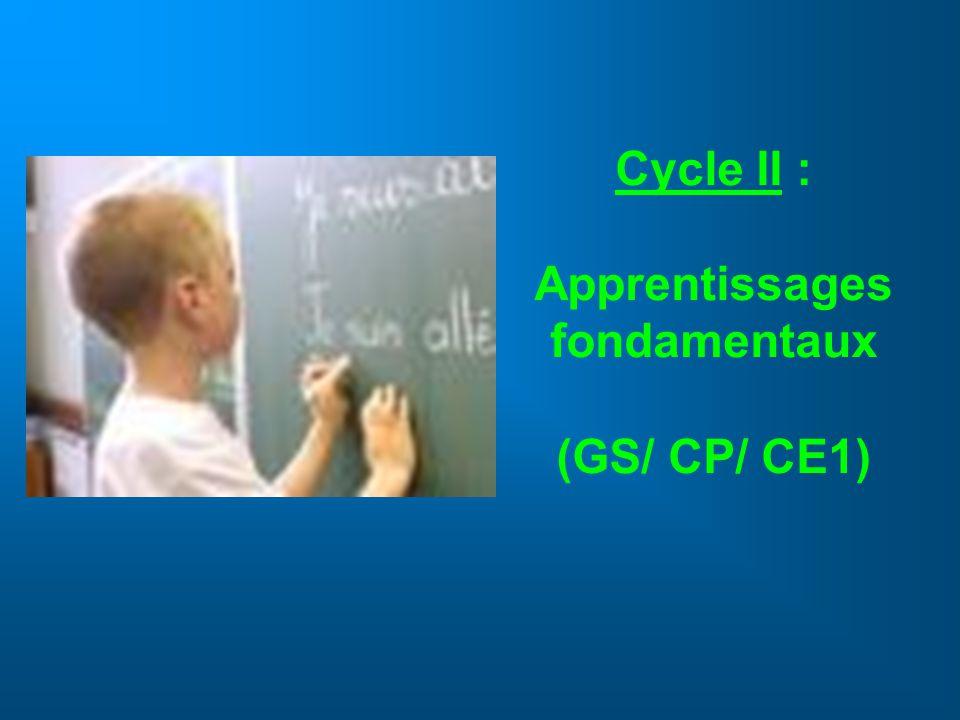 Cycle II : Apprentissages fondamentaux (GS/ CP/ CE1)