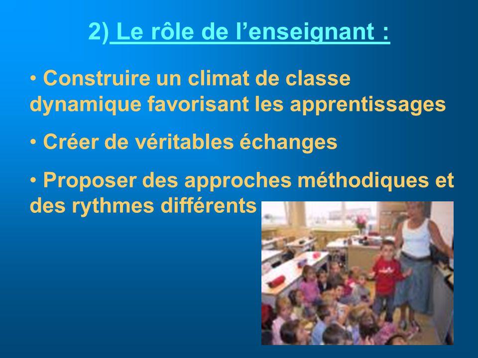 2) Le rôle de lenseignant : Construire un climat de classe dynamique favorisant les apprentissages Créer de véritables échanges Proposer des approches