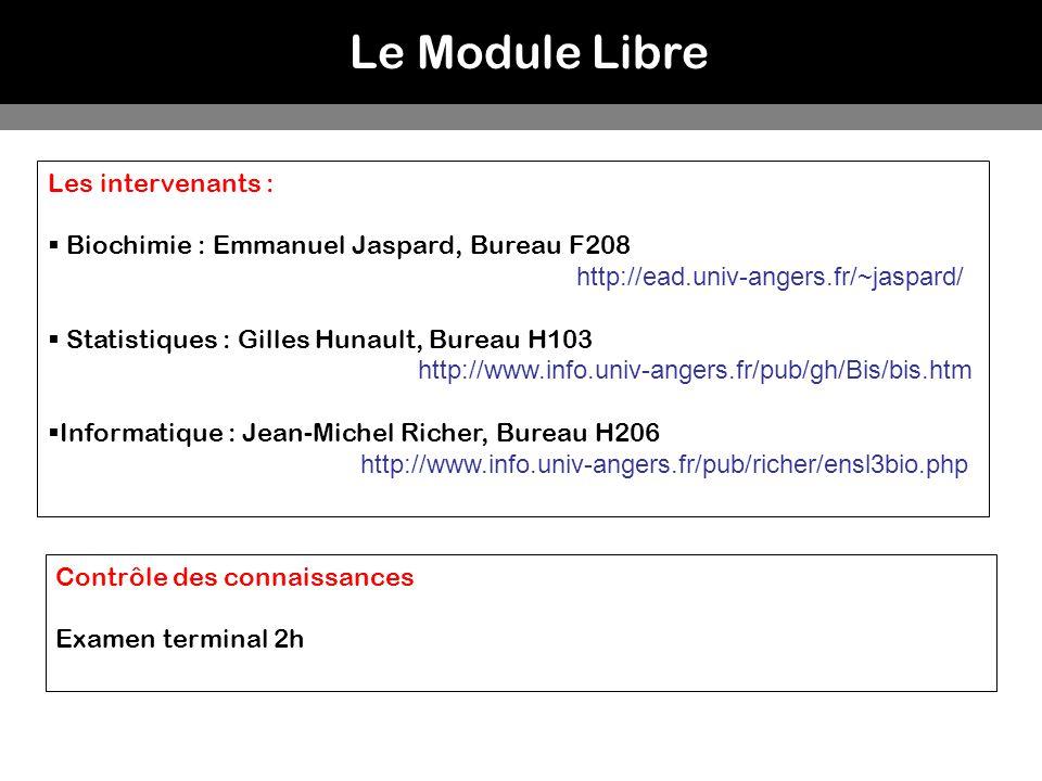 Le Module Libre Les intervenants : Biochimie : Emmanuel Jaspard, Bureau F208 http://ead.univ-angers.fr/~jaspard/ Statistiques : Gilles Hunault, Bureau