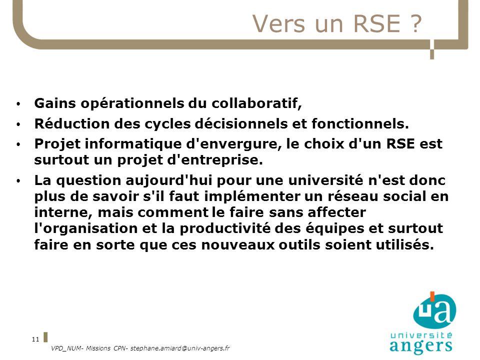 VPD_NUM- Missions CPN- stephane.amiard@univ-angers.fr 11 Vers un RSE ? Gains opérationnels du collaboratif, Réduction des cycles décisionnels et fonct