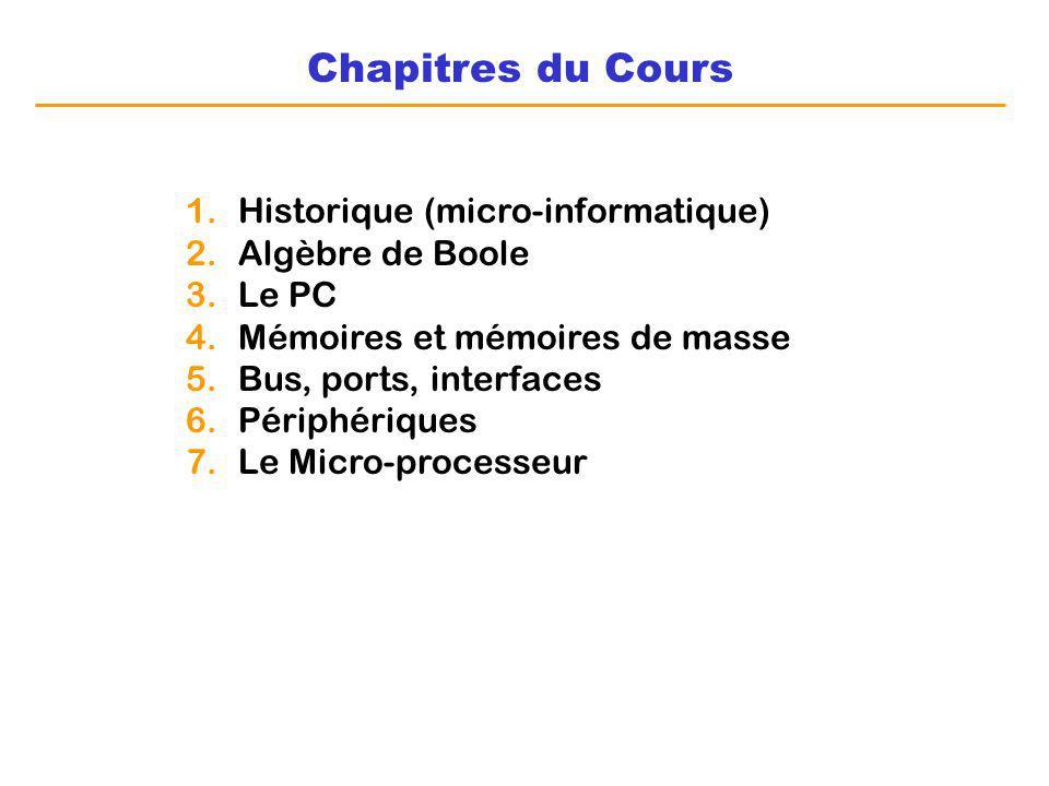 Chapitres du Cours 1.Historique (micro-informatique) 2.Algèbre de Boole 3.Le PC 4.Mémoires et mémoires de masse 5.Bus, ports, interfaces 6.Périphériqu