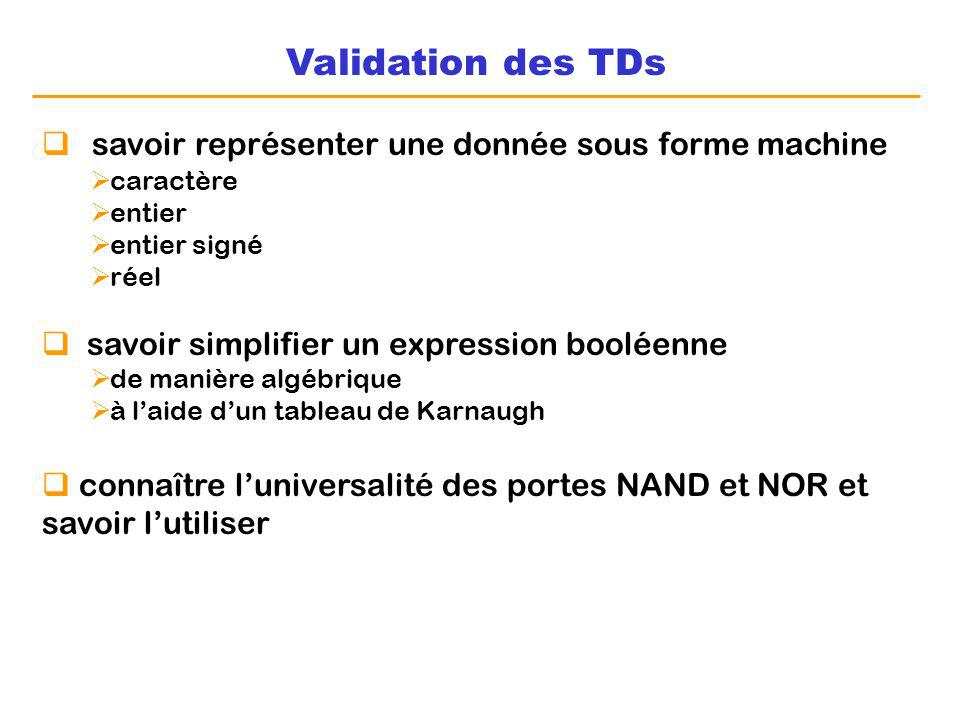 Validation des TDs savoir représenter une donnée sous forme machine caractère entier entier signé réel savoir simplifier un expression booléenne de ma