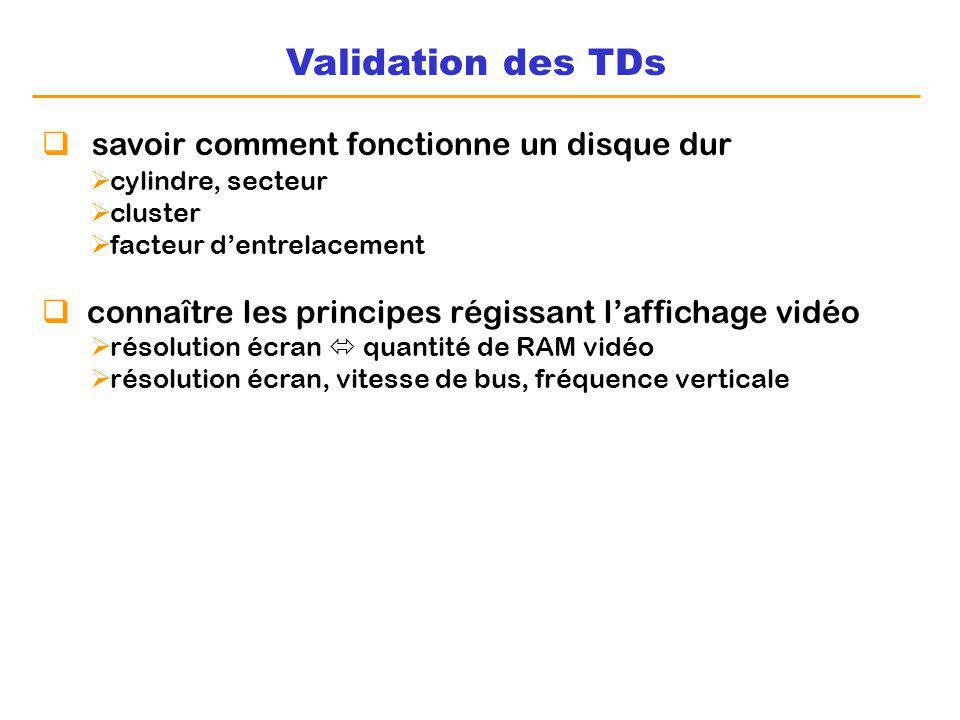 Validation des TDs savoir comment fonctionne un disque dur cylindre, secteur cluster facteur dentrelacement connaître les principes régissant lafficha