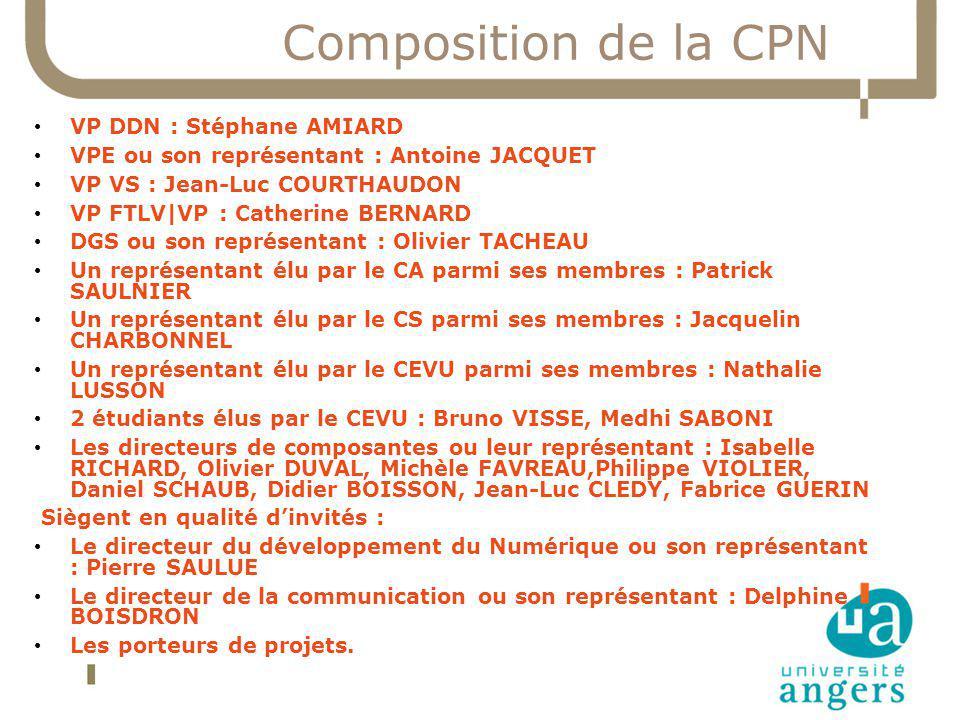 Composition de la CPN VP DDN : Stéphane AMIARD VPE ou son représentant : Antoine JACQUET VP VS : Jean-Luc COURTHAUDON VP FTLV|VP : Catherine BERNARD D