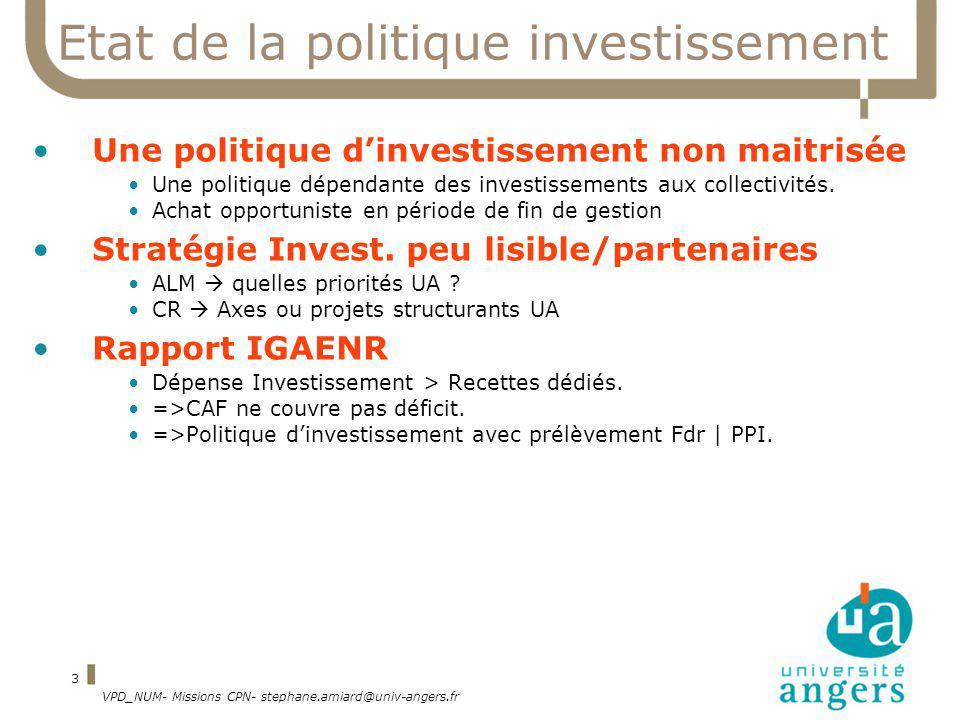VPD_NUM- Missions CPN- stephane.amiard@univ-angers.fr 3 Etat de la politique investissement Une politique dinvestissement non maitrisée Une politique dépendante des investissements aux collectivités.