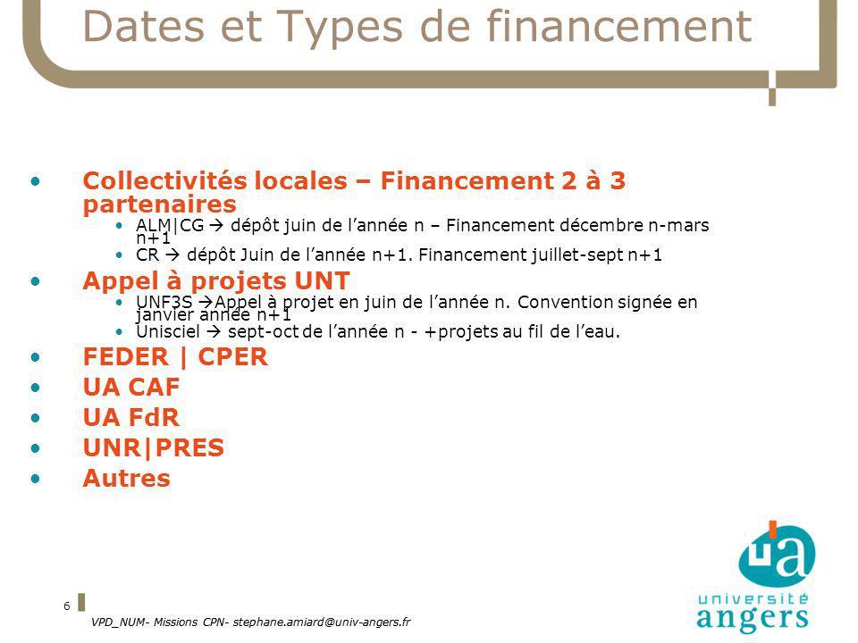 VPD_NUM- Missions CPN- stephane.amiard@univ-angers.fr 6 Dates et Types de financement Collectivités locales – Financement 2 à 3 partenaires ALM|CG dép