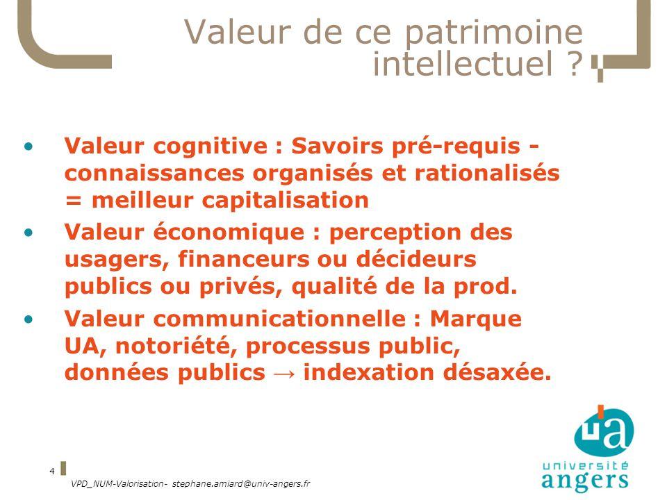 VPD_NUM-Valorisation- stephane.amiard@univ-angers.fr 4 Valeur de ce patrimoine intellectuel .