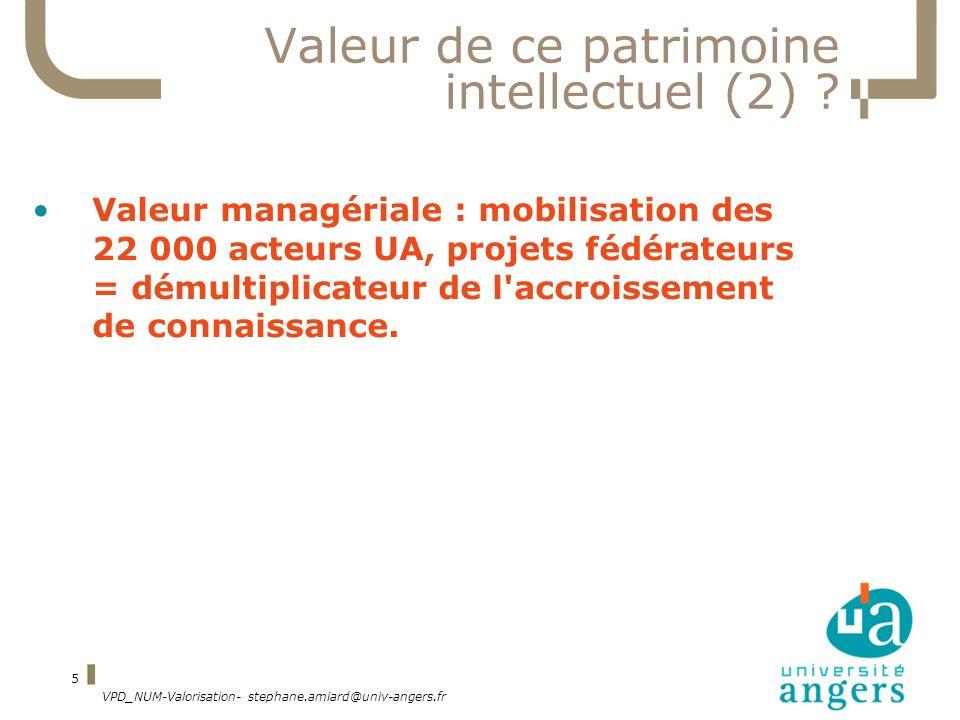 VPD_NUM-Valorisation- stephane.amiard@univ-angers.fr 5 Valeur de ce patrimoine intellectuel (2) .