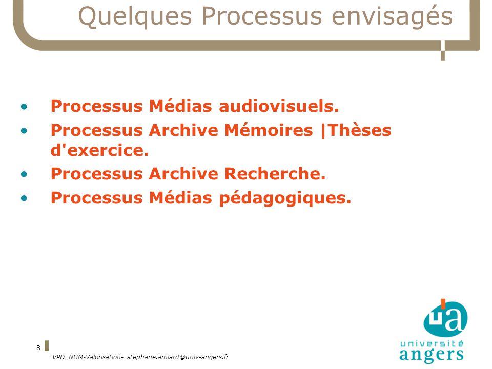 VPD_NUM-Valorisation- stephane.amiard@univ-angers.fr 8 Quelques Processus envisagés Processus Médias audiovisuels.