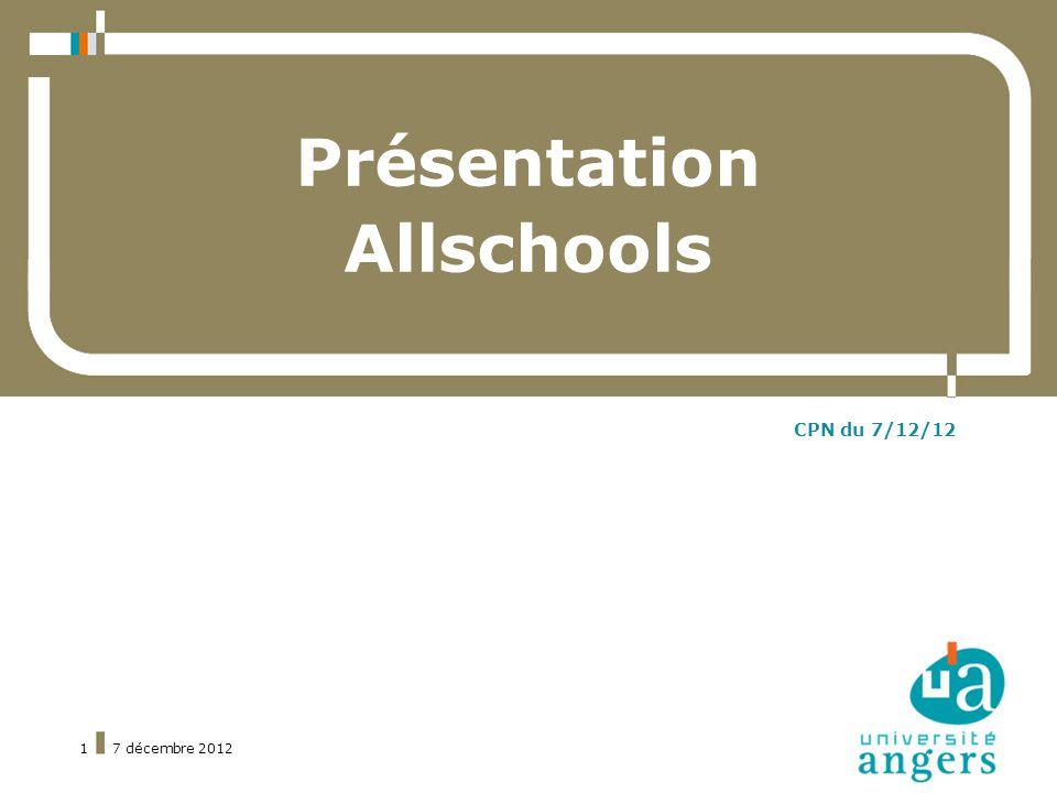 7 décembre 20121 Présentation Allschools CPN du 7/12/12