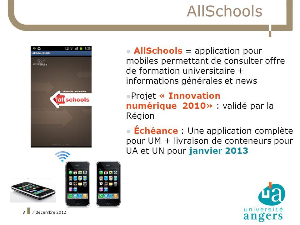 7 décembre 20123 AllSchools AllSchools = application pour mobiles permettant de consulter offre de formation universitaire + informations générales et