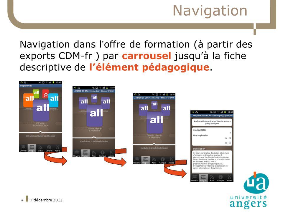 7 décembre 20124 Navigation Navigation dans loffre de formation (à partir des exports CDM-fr ) par carrousel jusquà la fiche descriptive de lélément pédagogique.