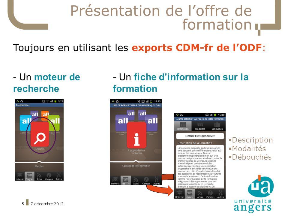 7 décembre 20125 Présentation de loffre de formation Toujours en utilisant les exports CDM-fr de lODF: Description Modalités Débouchés - Un moteur de recherche - Un fiche dinformation sur la formation