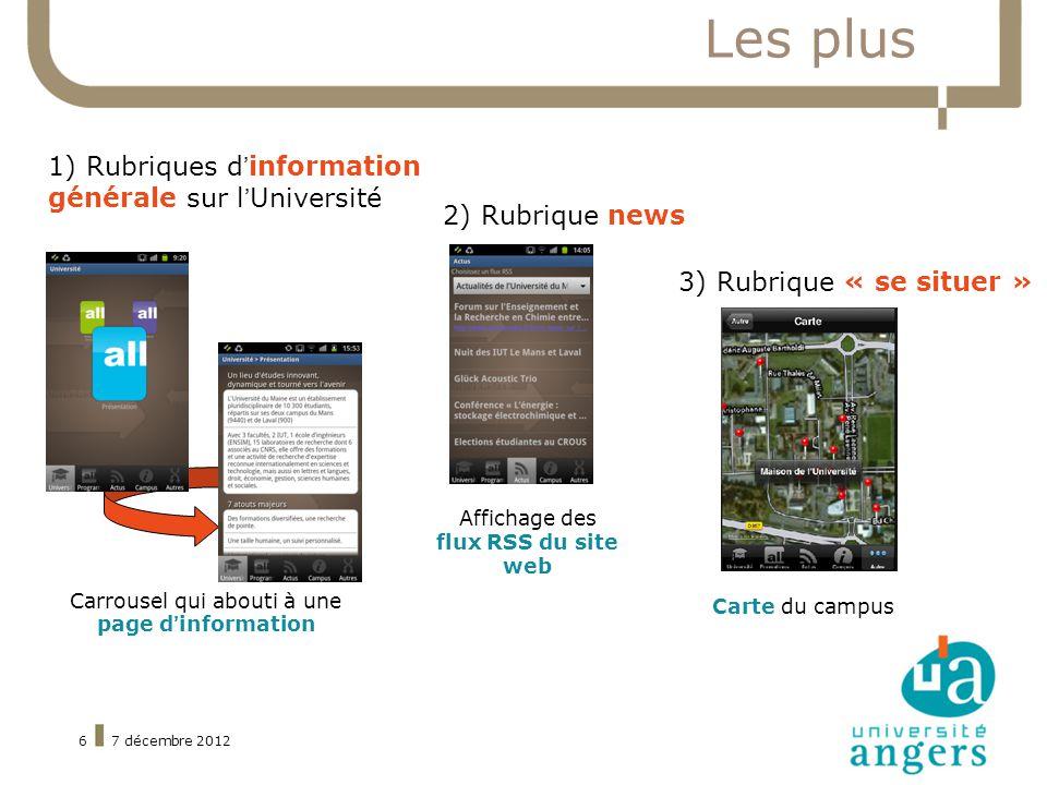7 décembre 20126 Les plus 2) Rubrique news 3) Rubrique « se situer » Affichage des flux RSS du site web Carte du campus 1) Rubriques dinformation générale sur lUniversité Carrousel qui abouti à une page dinformation