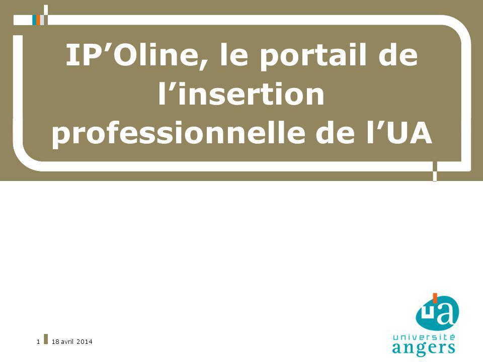 18 avril 20141 IPOline, le portail de linsertion professionnelle de lUA
