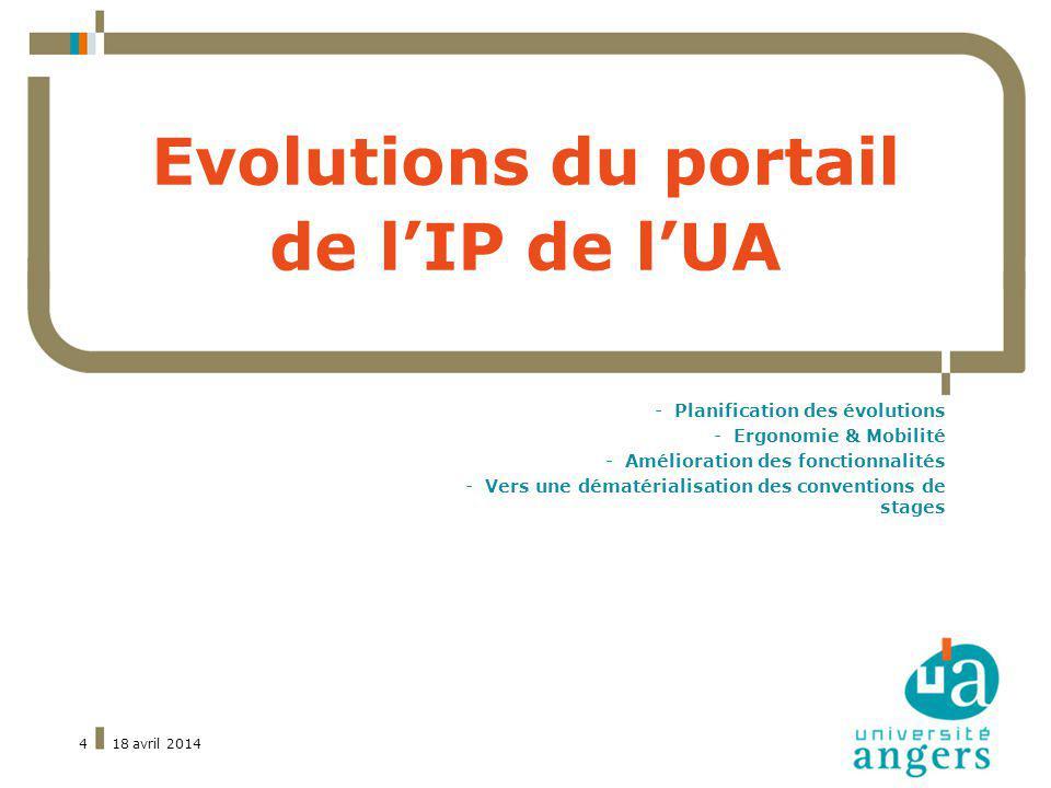 18 avril 20144 Evolutions du portail de lIP de lUA -Planification des évolutions -Ergonomie & Mobilité -Amélioration des fonctionnalités -Vers une dématérialisation des conventions de stages