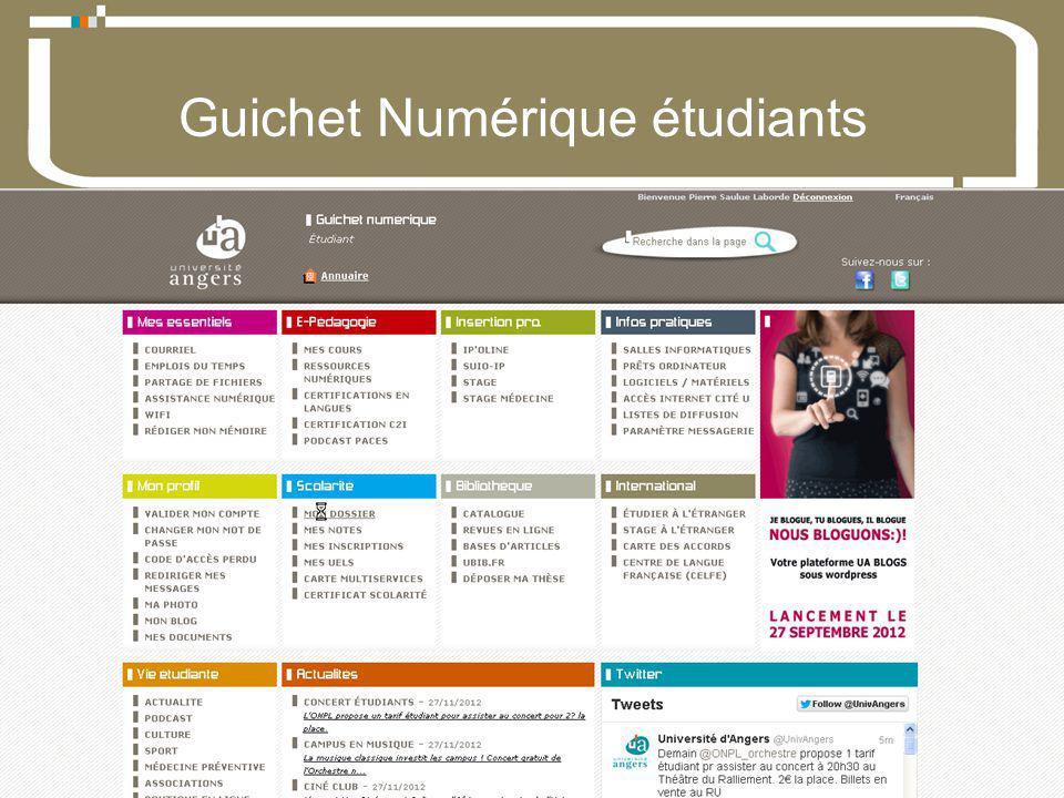 07 Décembre 2012Direction du développement du numérique 3 Université dAngers Guichet Numérique étudiants