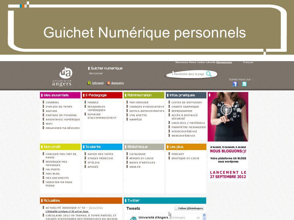 07 Décembre 2012Direction du développement du numérique 4 Université dAngers Guichet Numérique personnels