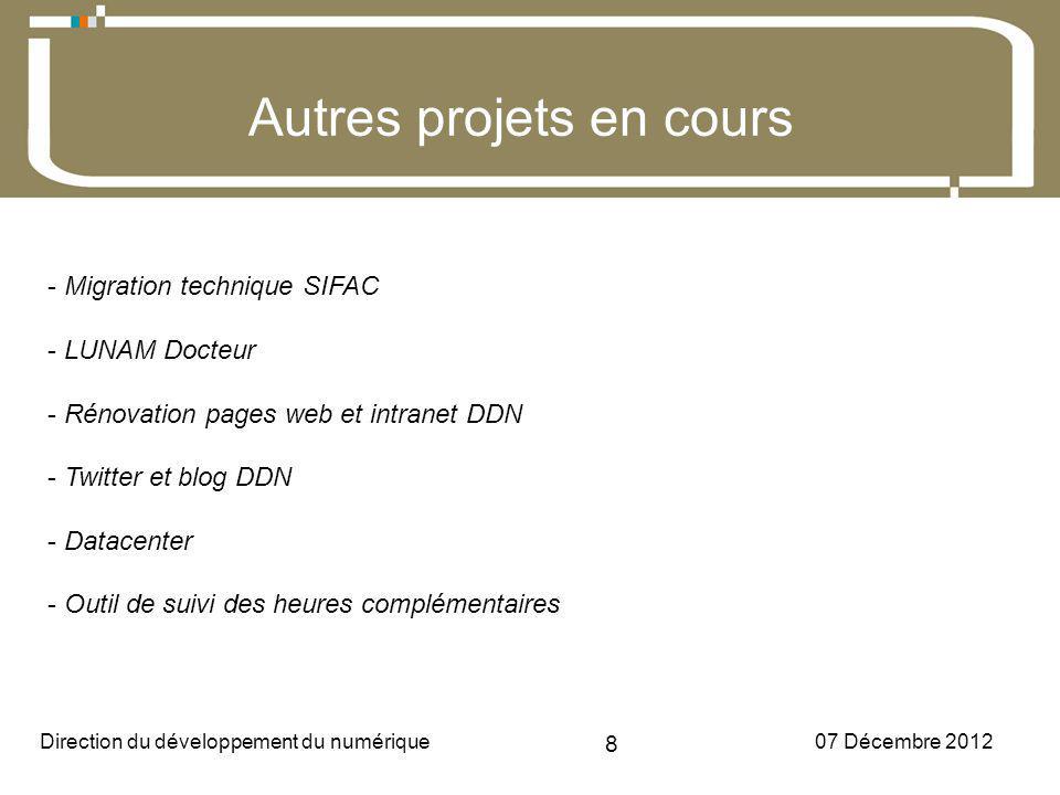 07 Décembre 2012Direction du développement du numérique 8 Université dAngers Autres projets en cours - Migration technique SIFAC - LUNAM Docteur - Rénovation pages web et intranet DDN - Twitter et blog DDN - Datacenter - Outil de suivi des heures complémentaires