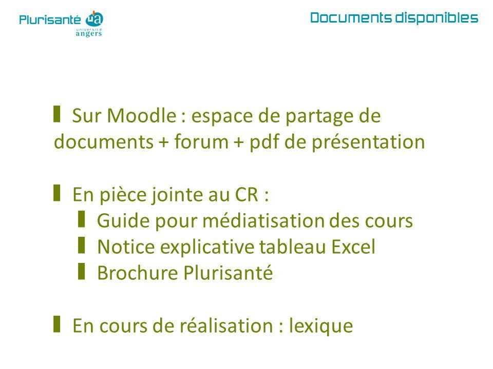 Documents disponibles § Sur Moodle : espace de partage de documents + forum + pdf de présentation § En pièce jointe au CR : § Guide pour médiatisation