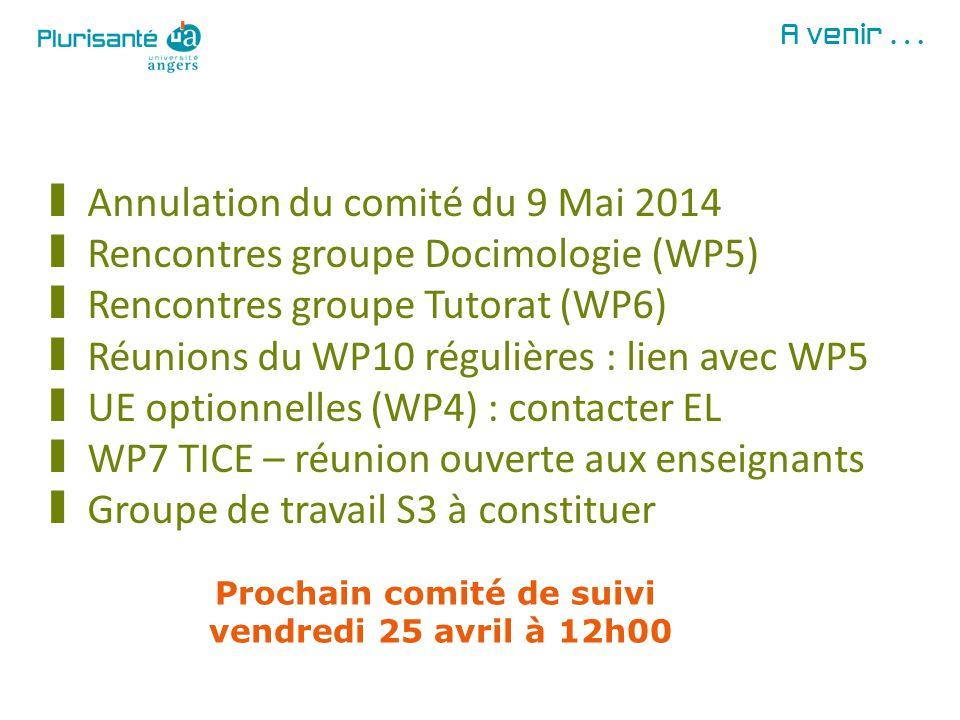 A venir… § Annulation du comité du 9 Mai 2014 § Rencontres groupe Docimologie (WP5) § Rencontres groupe Tutorat (WP6) § Réunions du WP10 régulières :