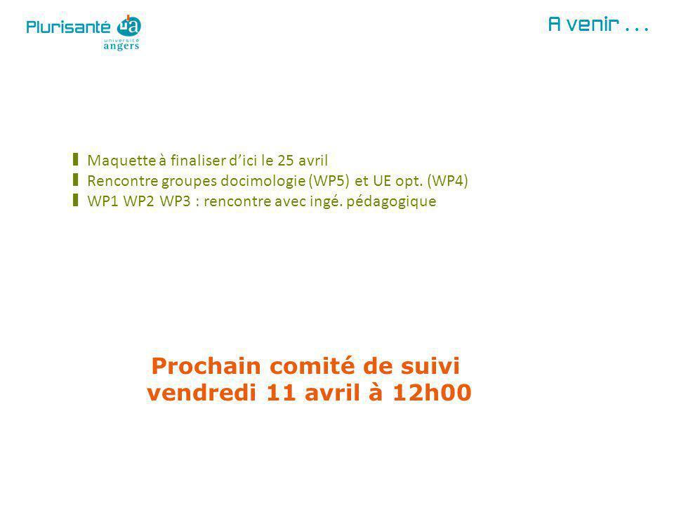 A venir… § Maquette à finaliser dici le 25 avril § Rencontre groupes docimologie (WP5) et UE opt.