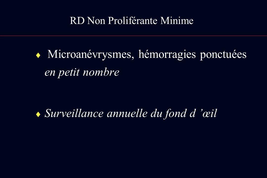 RD Non Proliférante Minime Microanévrysmes, hémorragies ponctuées en petit nombre Surveillance annuelle du fond d œil