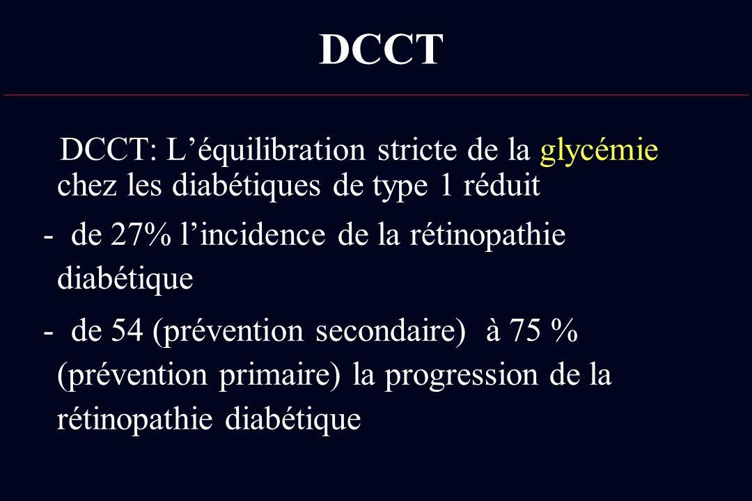 DCCT DCCT: Léquilibration stricte de la glycémie chez les diabétiques de type 1 réduit - de 27% lincidence de la rétinopathie diabétique - de 54 (prév
