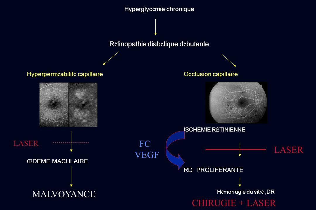 Hyperglyc é mie chronique R é tinopathie diab é tique d é butante Hyperperm é abilit é capillaire Occlusion capillaire ISCHEMIE R É TINIENNE Œ DEME MA