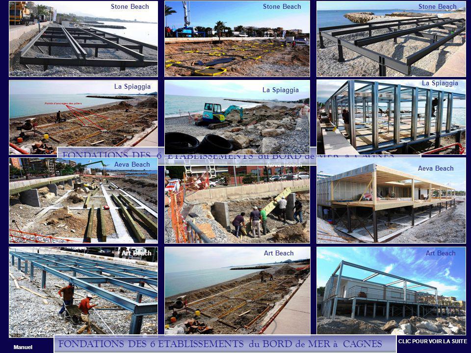 Stone Beach La Spiaggia Art Beach Aeva Beach FONDATIONS DES 6 ETABLISSEMENTS du BORD de MER à CAGNES Art Beach Aeva Beach La Spiaggia Stone Beach FONDATIONS DES 6 ETABLISSEMENTS du BORD de MER à CAGNES CLIC POUR VOIR LA SUITE Manuel