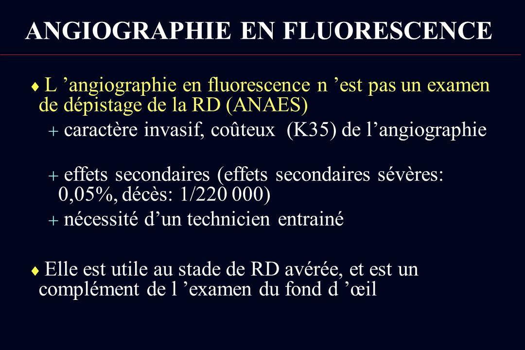 ANGIOGRAPHIE EN FLUORESCENCE L angiographie en fluorescence n est pas un examen de dépistage de la RD (ANAES) caractère invasif, coûteux (K35) de lang