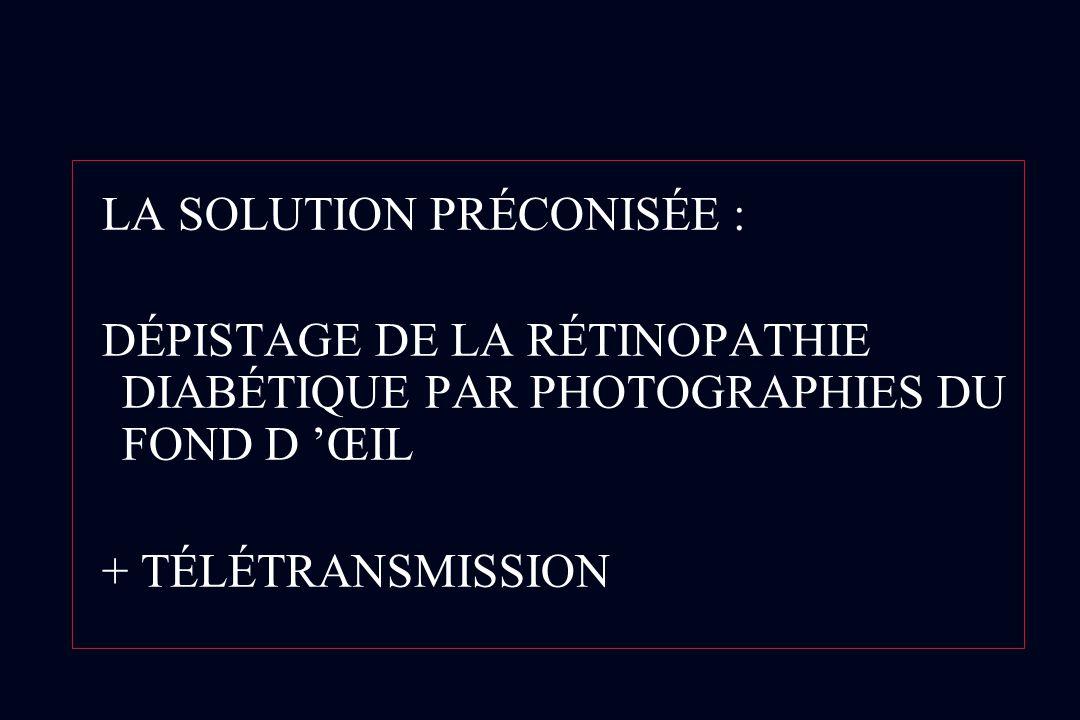 LA SOLUTION PRÉCONISÉE : DÉPISTAGE DE LA RÉTINOPATHIE DIABÉTIQUE PAR PHOTOGRAPHIES DU FOND D ŒIL + TÉLÉTRANSMISSION