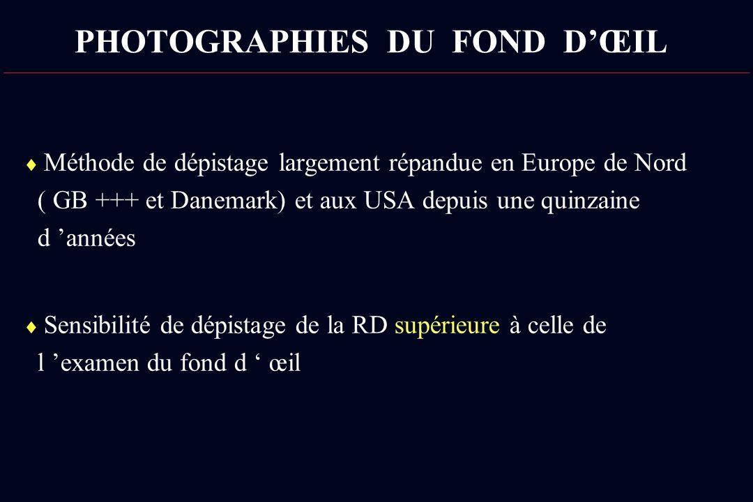 PHOTOGRAPHIES DU FOND DŒIL Méthode de dépistage largement répandue en Europe de Nord ( GB +++ et Danemark) et aux USA depuis une quinzaine d années Se