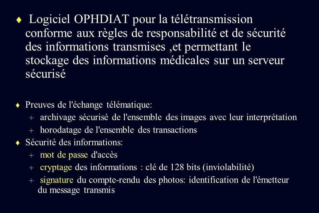 Logiciel OPHDIAT pour la télétransmission conforme aux règles de responsabilité et de sécurité des informations transmises,et permettant le stockage d