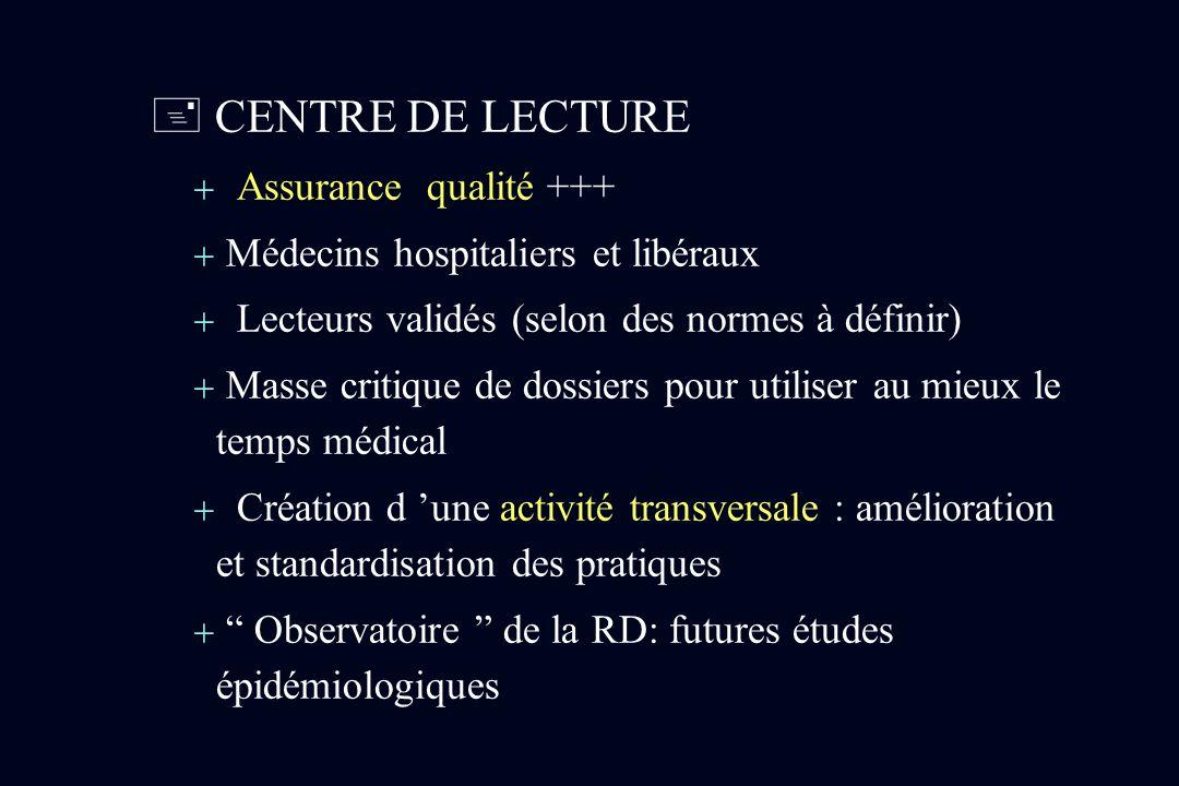 CENTRE DE LECTURE Assurance qualité +++ Médecins hospitaliers et libéraux Lecteurs validés (selon des normes à définir) Masse critique de dossiers pou