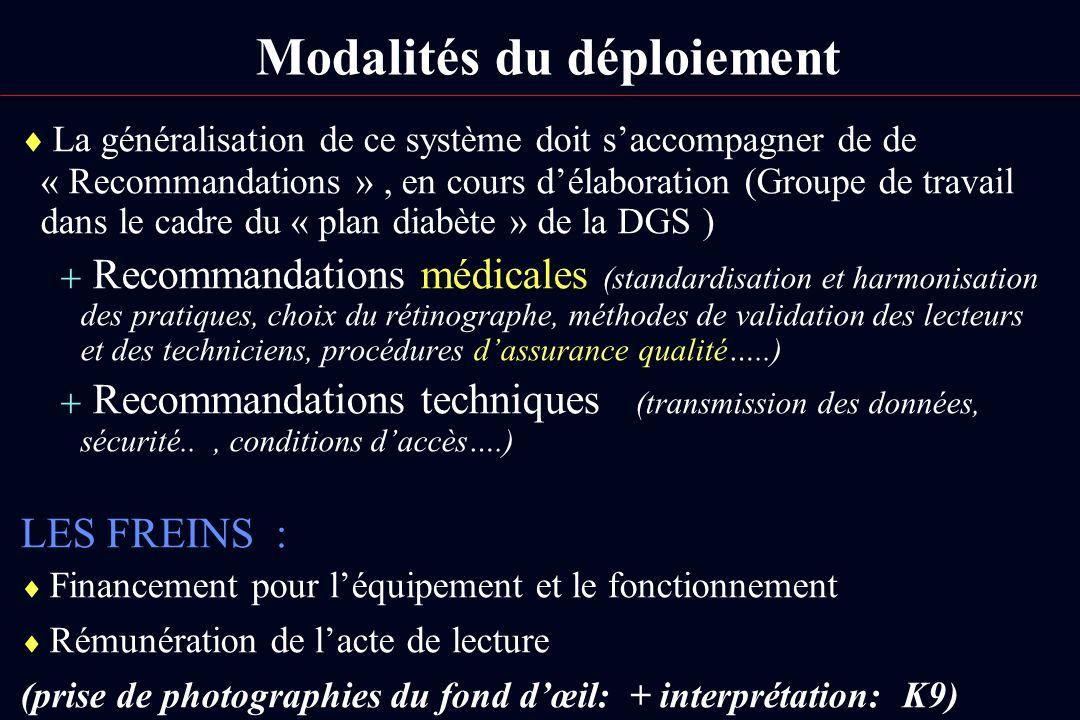 Modalités du déploiement La généralisation de ce système doit saccompagner de de « Recommandations », en cours délaboration (Groupe de travail dans le