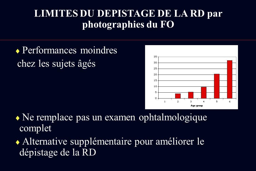Performances moindres chez les sujets âgés Ne remplace pas un examen ophtalmologique complet Alternative supplémentaire pour améliorer le dépistage de