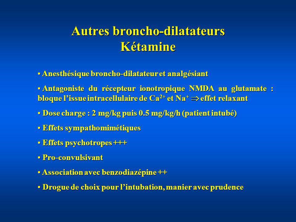 Autres broncho-dilatateurs Kétamine Anesthésique broncho-dilatateur et analgésiant Anesthésique broncho-dilatateur et analgésiant Antagoniste du récep