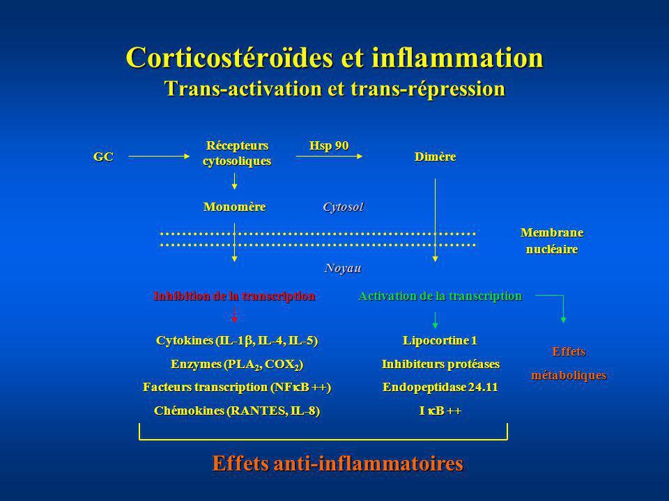 Corticostéroïdes et inflammation Trans-activation et trans-répression Récepteurs cytosoliques GC Hsp 90 Dimère Monomère Membranenucléaire Inhibition d