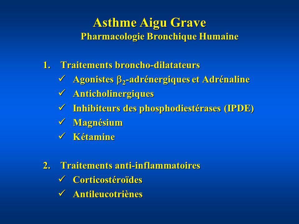 Asthme Aigu Grave Pharmacologie Bronchique Humaine 1.Traitements broncho-dilatateurs Agonistes 2 -adrénergiques et Adrénaline Agonistes 2 -adrénergiqu